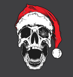 skull wearing santa claus hat vector image