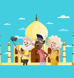 Smiling old people doing selfie in india vector