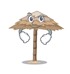 Smirking character tropical sand beach shelter vector