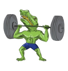 Sobek weightlifter lifting barbell caricature vector