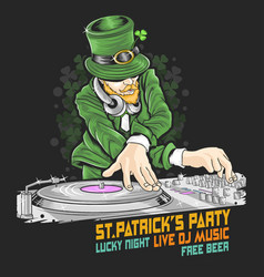 St patricks day dj party vector