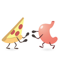 Stomach and pizza fighting vector