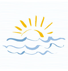 Sun and sea logo icon handmade grunge icon vector