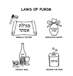 The laws purim reading megillat esther scroll vector