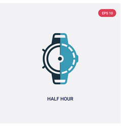 Two color half hour icon from technology concept vector