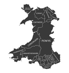 Wales map labelled black vector