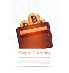 Wallet with golden bitcoin digital currency modern vector