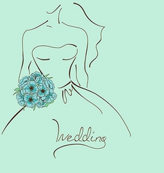 Wedding card with contour sketch of bride vector image