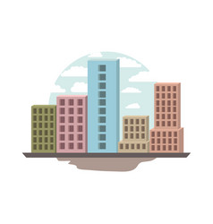 white background with circular scene city vector image