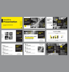 yellow and white presentation layout template vector image