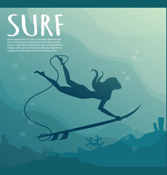 young girl - surfer with surf board dive vector image