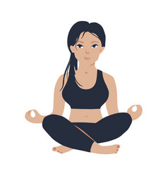 young slim girl practicing yoga meditation in vector image