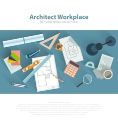 Architects workplace with architectural tools vector image