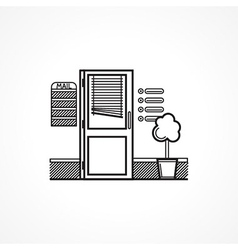 Black line icon for office door vector image vector image