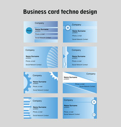 business card set in techno design blue vector image