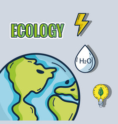Earth planet with ecology icons vector