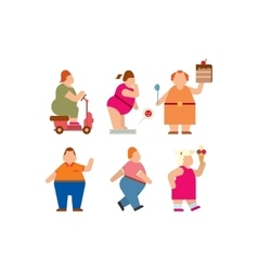 Fat people flat silhouette icons vector image