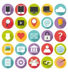 Flat design multimedia icons set vector image vector image