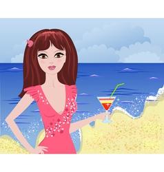 girl beach2 vector image vector image