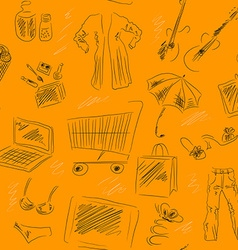Seamless Patterned Background with Shopping Icons vector image vector image