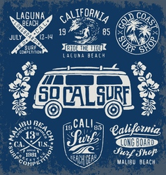 Set of Vintage Surfing Graphics and Emblems vector image