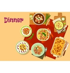 Dinner dishes top view icon for menu design vector image vector image