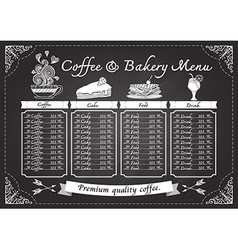 Hand drawn coffee and bakery on chalkboard vector image