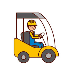 man driving a delivery truck logistic working vector image vector image