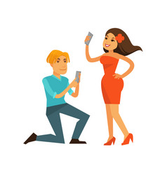 young man and woman taking photos of themselves vector image vector image