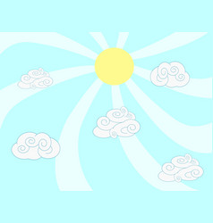 cartoon clouds and sun background vector image