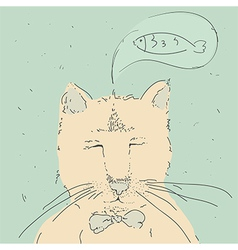 Cartoon cute cat think about fish vector image