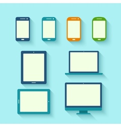 Digital tablets with long shadow vector image