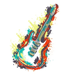 electric guitar hand drawn grunge style art vector image