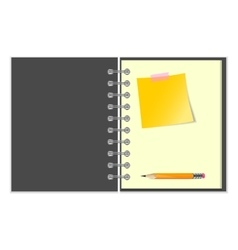 Open notebook with yellow sticker and pencil vector image vector image