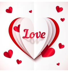 Realistic paper Love sign in folded hearts vector image vector image