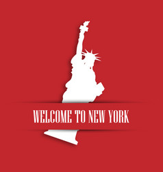 Statue of liberty white paper cutting in red vector