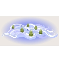 Winter landscape with Christmas trees EPS10 vector image