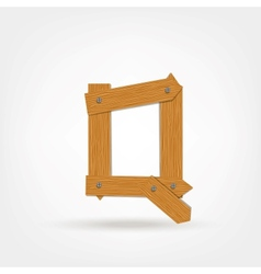 Wooden Boards Letter Q vector image