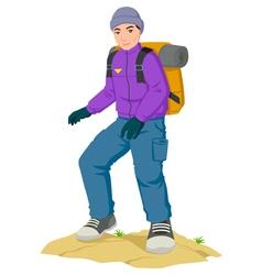 Backpacker Hiking vector image