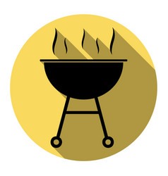 barbecue simple sign flat black icon with vector image vector image