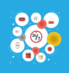 flat icons buy now present purchase and other vector image vector image