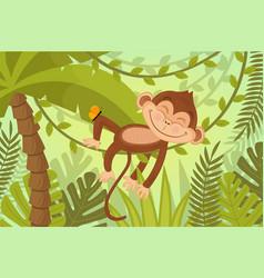 scene monkey sleeps on vine vector image