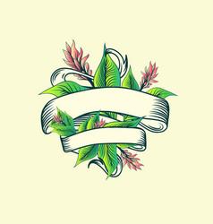 vintage ribbon tropic turmeric floral design vector image vector image