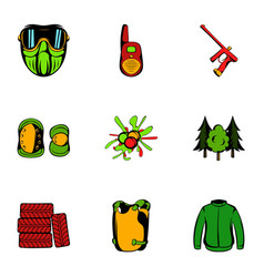 action icons set cartoon style vector image
