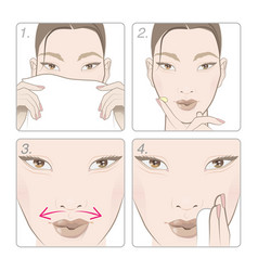 Anti-aging massage lips with protective oil vector