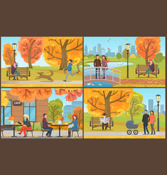 autumn landscapes and city town autumnal vector image
