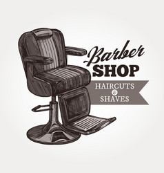 barber shop sketch retro emblem vector image