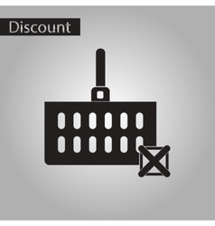 Black and white style icon Shopping cart discounts vector