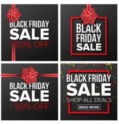 black friday sale banner set cartoon vector image