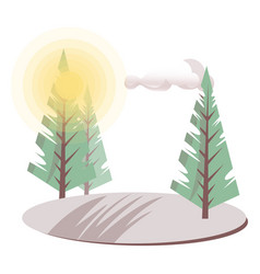 bright day village landscape with fir-trees and vector image
